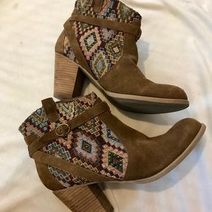 Tribal patterned booties